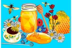 蜂蜜在低多和手拉的样式的卡片设计 皇族释放例证