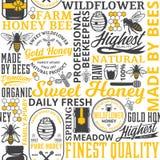 蜂蜜无缝的样式、商标和象 库存图片