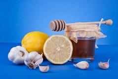 蜂蜜柠檬和大蒜 免版税库存照片