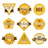 蜂蜜标号组 免版税库存照片