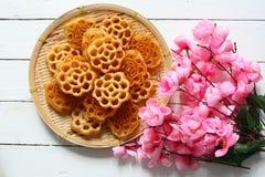 蜂蜜梳子曲奇饼或罗斯曲奇饼 库存图片
