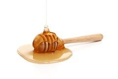 蜂蜜浸染工可口白色背景特写镜头甜健康 库存图片