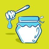 蜂蜜瓶子-蓝色系列 库存照片