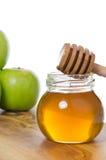 蜂蜜用苹果 免版税库存图片