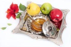 蜂蜜用Rosh的Hashana苹果 免版税库存图片