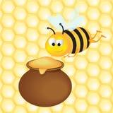 蜂蜜罐和蜂,向量例证 库存图片