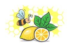 蜂蜜自然柠檬的蜂 免版税库存照片