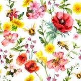 蜂蜜蜂、草甸花、夏天草和植物 重复夏天样式 水彩 向量例证