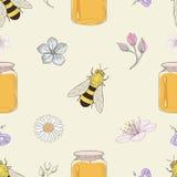 蜂蜜蜂和花无缝的样式 库存照片
