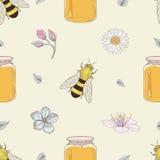 蜂蜜蜂和花无缝的样式 库存图片