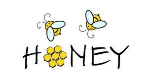 蜂蜜蜂商标 库存例证
