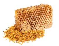 蜂蜜蜂窝花粉 库存图片