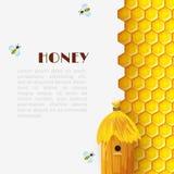 蜂蜜蜂箱背景 免版税图库摄影