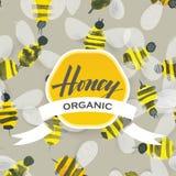蜂蜜蜂水彩样式 免版税库存照片