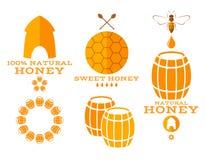 蜂蜜 标签和象 向量例证