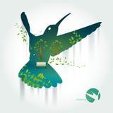 蜂鸟剪影与公园的异乎寻常的风景的 免版税库存图片
