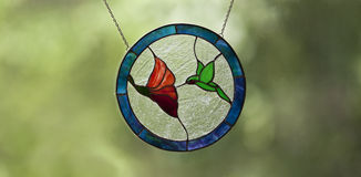 蜂鸟彩色玻璃 图库摄影
