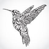 蜂鸟 纹身花刺艺术 减速火箭的横幅,邀请,卡片,小块售票 T恤杉,袋子,明信片,海报 库存例证