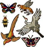 蜂,蝴蝶,甲虫,起重机鸟贴纸刺绣纺织品设计 免版税库存照片