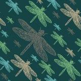 蜻蜓五颜六色的无缝的样式 免版税库存图片