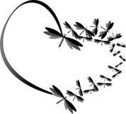 蜻蜓和例证做的黑心脏 免版税图库摄影