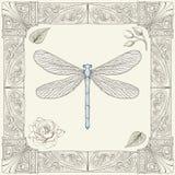 蜻蜓和玫瑰色图画 免版税图库摄影