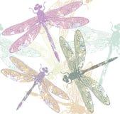 蜻蜓的无缝的样式 库存例证