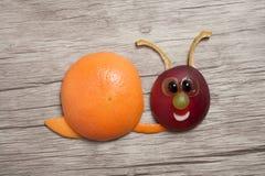 蜗牛做用桔子和桃子在木背景 免版税库存图片