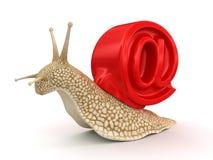 蜗牛和电子邮件(包括的裁减路线) 库存图片