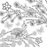 蜗牛和butterflys在幻想花园里 免版税图库摄影