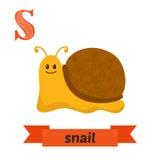 蜗牛 S信件 逗人喜爱的在传染媒介的儿童动物字母表 滑稽 库存照片