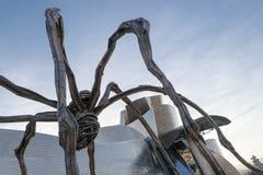 蜘蛛的雕象在毕尔巴鄂叫Maman 图库摄影