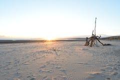 蜘蛛结构,斯旺西海湾,篝火夜 库存照片
