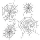 蜘蛛网万圣夜被设置的传染媒介装饰 蜘蛛网党设计元素 免版税图库摄影