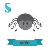 蜘蛛 S信件 逗人喜爱的在传染媒介的儿童动物字母表 滑稽 库存照片