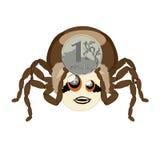 蜘蛛Hauk和俄罗斯卢布 库存照片