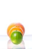 蜜桔、葡萄柚和石灰在白色隔绝的黑色的盘子 免版税库存照片