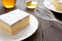 蜜糕用香草和打好的奶油 免版税库存照片