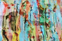蜡、水彩颜色、泥和被烧的纸,抽象背景 免版税库存图片