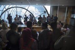 蜡染布空气印度尼西亚新闻招待会 免版税库存图片