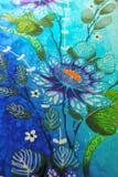 蜡染布织品花卉样式 免版税库存照片