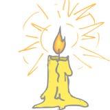 蜡烛光亮的黄色 库存照片