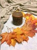 蜡烛和叶子 免版税库存照片