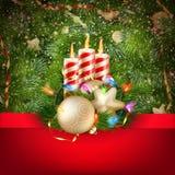 蜡烛和圣诞节装饰品 10 eps 免版税库存照片