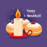 蜡烛和犹太烘烤的光明节例证 库存图片