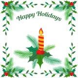 蜡烛和绿色槲寄生和杉木叶子圣诞卡 免版税库存照片