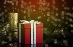 蜡烛圣诞节构成礼品 免版税图库摄影