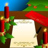 蜡烛圣诞节节日快乐信函结构树 免版税库存图片