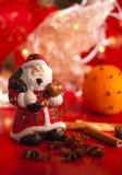 蜡烛圣诞节装饰圣诞老人 库存照片