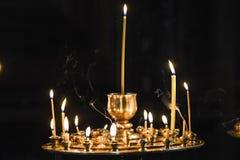 蜡烛在东正教里在乔治亚 免版税库存照片